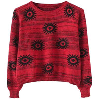 Flowers-intarsia Cropped Slim Sweater
