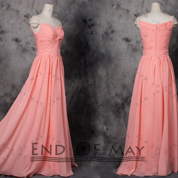 Sweetheart Beading Women's Chiffon Long Bridesmaid Prom Dresses,Long bridesmaid dress,bridesmaid dresses