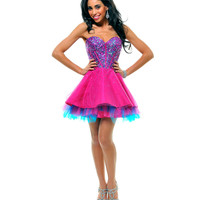 Fuchsia & Blue Strapless Sequin Tulle Tutu Cocktail Dress - Unique Vintage - Cocktail, Pinup, Holiday & Prom Dresses.