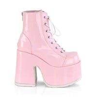 Demonia Pink Holographic Lace-Up Ankle Boot