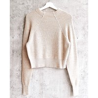 Free People - Too Good Ribbed Trim Pullover Sweater - Taupe