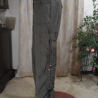 Size Med Vintage Green Cargo Pants Womens Gathered Pockets Hippie Steampunk Soft Grunge Boho Army Parachute 90's 80's 70's Hip Huggers