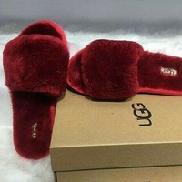 UGG wool in one word drag slippers-6