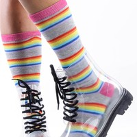 CLEAR BLACK TRANSPARENT LACE UP JELLY COMBAT RAIN BOOTS