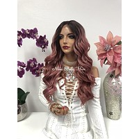 Pink Ombre Swiss Front Lace Wig | Long Waves Soft Layered Hair | Novella 1018