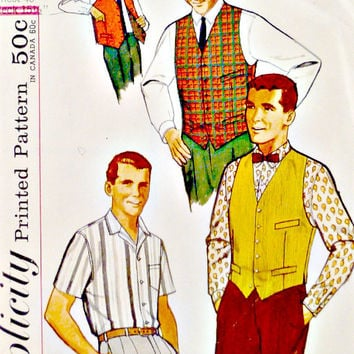 60s Mens Dress Sports Shirts Reversible Vests Pattern Vintage Simplicity 4160 Sewing Patterns Yoke Back Sleeve Options Size Chest 40""