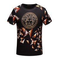Versace Women or Men Fashion Casual Diamond Pattern Print Shirt Top Tee