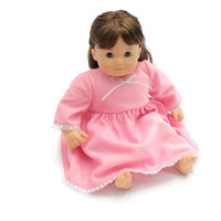 Pink Doll Nightie Fuzzy Pajamas Nightgown Ribbon Lace Bitty Twin Winter 14 to 16 inch Baby Doll - US Shipping Included