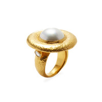 Gurhan Women's White Mabe Pearl Ring - Gold - Size 6.5