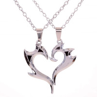 "Yazilind 2pcs Mens Womens Puzzle Stainless Steel Love Pendant Couple Necklace Gift 17"" (Color: Ivory) = 1929828356"