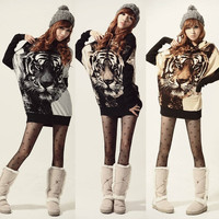 Women's Tiger Knit Sweater  Batwing T-Shirt (One Size) = 1946101508