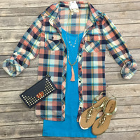 Penny Plaid Flannel Top: Navy/Coral