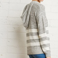 Striped Loose-Knit Heathered Hoodie