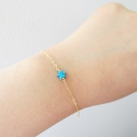 Turquoise, Star, Gold filled, Sterling silver, Chain, Bracelet