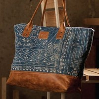 Will Leather Goods Batik Utility Tote in Blue