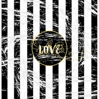 Grunge Love with Black and White Stripes and Gold Accents
