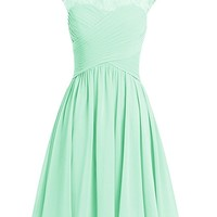 Women's Jewel Lace Cap Sleeves Short Evening Party Prom Dresses