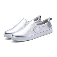 Women Sneakers Slip on Casual Flats Shoes Leather White Sole Female Lazy Shoes Ladies White Black Metallic Faux shoes