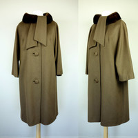 50s 60s Lilli Ann coat, princesss swing brown winter coat, cashmere wool w/ mink fur collar designer vintage