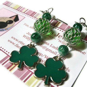 Shamrock Dangle Earrings, Green, Metal Enameled Four Leaf Clover Charms, Hypoallergenic Silver Plated French Hooks