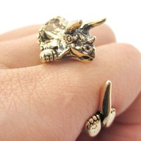 Triceratops Dinosaur Prehistoric Animal Wrap Around Hug Ring in Shiny Gold | US Size 4 to 8.5