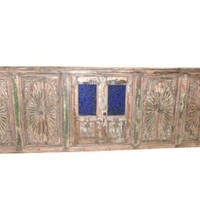 Architectural Terrace Antique Carved Window 18 Century Rare India Artifact 106x35 Inches