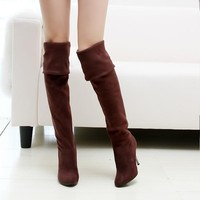 Women Boots High Heels Round Toe Knee Boots Woman Shoes Female Boots Black Gray Brown