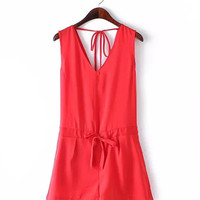 Red Lace-Up V-Back Romper
