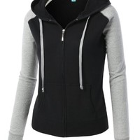 LE3NO Womens Lightweight Basic Fitted Color Block Zip Up Raglan Hoodie Jacket