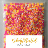 Neon Matte Glitter Mix Dots - Star