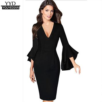 2017 New Arrival Autumn Womens Sexy Deep V-neck Flare Bell Long Sleeve Office Dresses Bodycon Party Dress Ladies Vestidos #1013