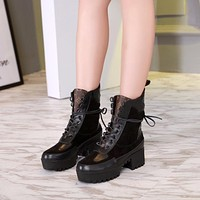 lv louis vuitton trending womens black leather side zip lace up ankle boots shoes high boots 317