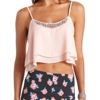 Embellished Layered Swing Crop Top by Charlotte Russe - Pearl Blush
