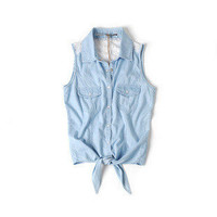 Lace Denim Button Up with Tie Front [12]