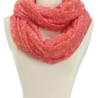 Ikat Print Infinity Scarf by Charlotte Russe - Peach Combo