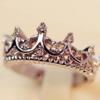 Fashion Princess Women 925 Sterling Silver Rhinestone Crown Ring Size 5, 6, 7, 8, 9