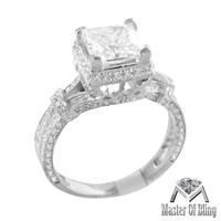 Princess Cut Ladies White Gold Finish Sterling Silver Lab Diamond Ring