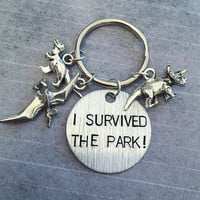 I Survived The Park Keychain - Fandom Accessories - Dinosaurs Accessories - Jurassic Park Accessories - Jurassic World - Dinosaurs