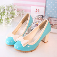 Womens Cute Bowtie Casual Heels