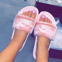 Puma X Rihanna Leadcat Fent Trending Women Fur Lovely Sandal Slipper Shoes Pink I