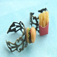 Burger and Fries Friendship Rings