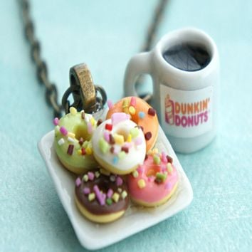 donut plate and coffee necklace