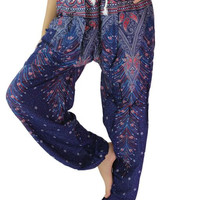 Unisex Peacock Harem pants / Yoga pants  one size fits blue