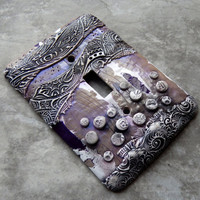 Effervescent, switch plate made from polymer clay in taupe, gray, white, violet, purple, abstract,