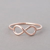 ROSE GOLD INFINITY RING ROSE GOLD INFINITY SYMBOL RING by kellinsilver.com