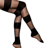 Kate Spade Sheer Opaque Colorblock Tights Black