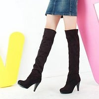 Women Over the Knee Boots High Heels Platform Flock Shoes Woman 2016 3584
