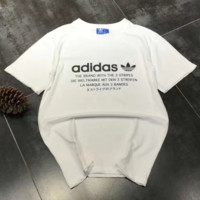 Women/Men Adidas Pattern Letter  White Casual T-Shirt