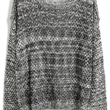 ROMWE   Hollow-out Batwing-sleeve Gray Jumper, The Latest Street Fashion