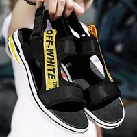 OFF-WHITE 2018 summer new trend men's sandals fashion breathable men's shoes F0350-1 Black/yellow